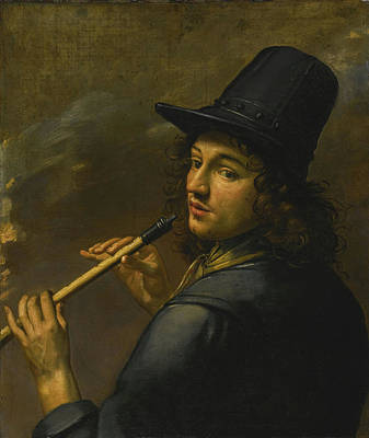Band Painting - Young Man Playing A Recorder by Celestial Images