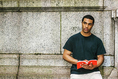 Photograph - Young Man Reading Book Outside 17051419 by Alexander Image