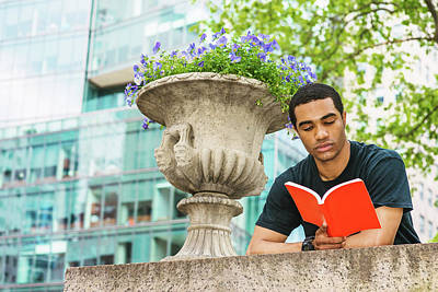 Photograph - Young Man Reading Book Outside 17051422 by Alexander Image