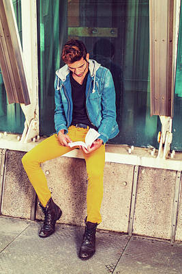 Photograph - Young Man Reading Book Outside In New York by Alexander Image