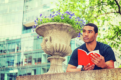 Photograph - Young Man Reading Book Outside17051433 by Alexander Image