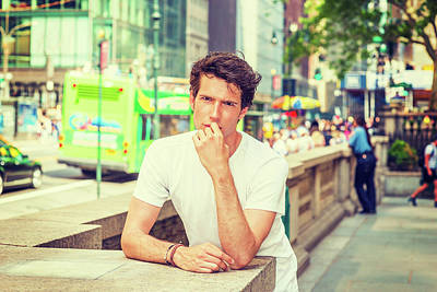 Photograph - Young Man Relaxing In New York In Hot Summer 15052818 by Alexander Image