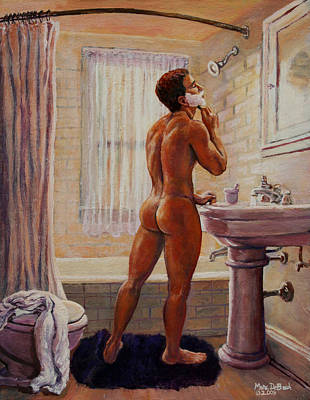 Painting - Young Man Shaving by Marc  DeBauch