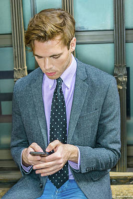 Photograph - Young Man Texting Anywhere 15041216 by Alexander Image