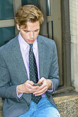 Photograph - Young Man Texting Anywhere 15041217 by Alexander Image