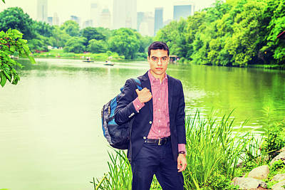 Photograph - Young Man Traveling In New York by Alexander Image