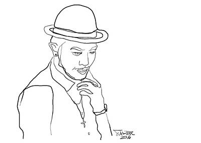 Contemplative Drawing - Young Man With A Hat by Robert Salter