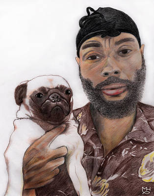 Drawing - Young Man With Dog by Marilyn Hilliard