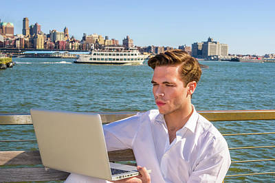 Photograph - Young Man Working On Laptop Computer By River 15041235 by Alexander Image