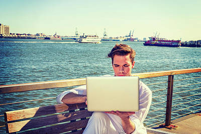 Photograph - Young Man Working On Laptop Computer By River 15041236 by Alexander Image