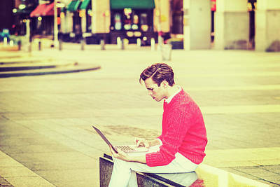 Photograph - Young Man Working On Street 15041257 by Alexander Image