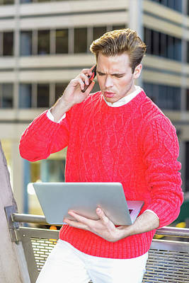 Photograph - Young Man Working Remotely 15041242 by Alexander Image
