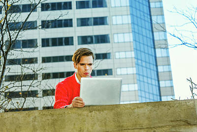 Photograph - Young Man Working Remotely 15041249 by Alexander Image