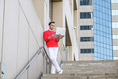 Photograph - Young Man Working Remotely 15041251 by Alexander Image