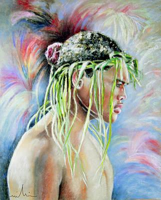 Maori Wall Art - Painting - Young Maori Warrior by Miki De Goodaboom