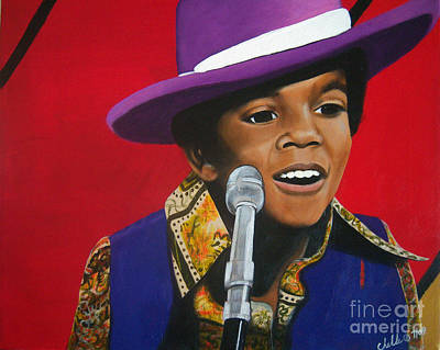 Painting - Young Michael Jackson Singing by Chelle Brantley