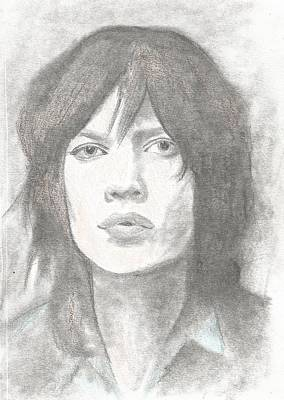 Musican Drawing - Young Mick Jagger by Amber Stanford
