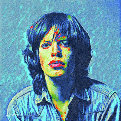 Digital Art - Young Mick Jagger by Gary Grayson