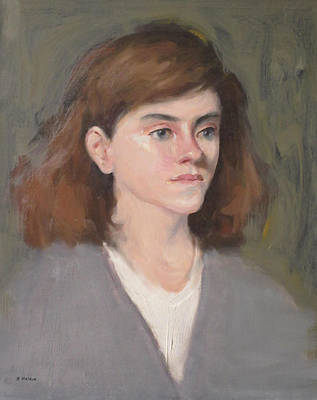 Painting - Young Model In Gray V-neck Sweater by Robert Holden