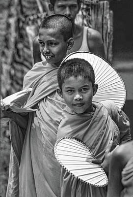 Thailand Photograph - Young Monks 2 Bw by Steve Harrington
