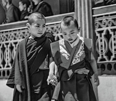 Young Monks - Buddies Bw Print by Steve Harrington