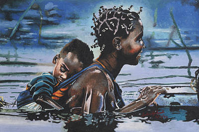 Young Mother And Child Art Print by Andre Ajibade