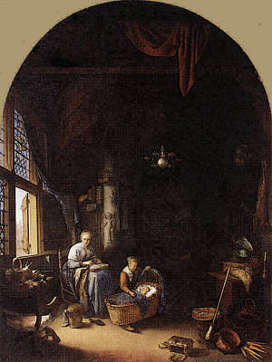 Digital Art - Young Mother  by Gerrit Dou
