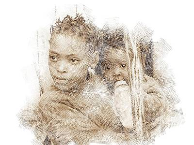 Digital Art - Young Mother by Jan Hattingh