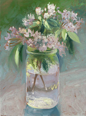 Nature Oil Painting - Young Mountain Laurels by Catherine Twomey