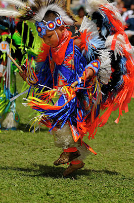 Ontario Photograph - Young Native Indian Fancy Dancer In Tiny Tots Competition At A G by Reimar Gaertner