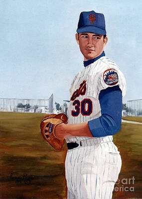 Painting - Young Nolan Ryan - With Mets by Rosario Piazza