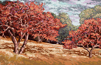 Painting - Young Oak Shadows by Hans Neuhart