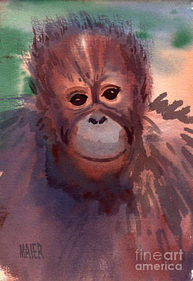 Orangutan Painting - Young Orangutan by Donald Maier