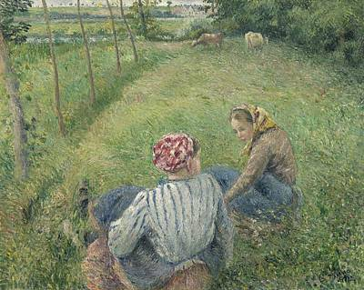 Young Peasant Girls Resting In The Fields Near Pontoise Art Print by Camille Pissarro