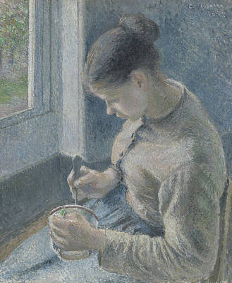 Young Peasant Having Her Coffee Art Print by Camille Pissarro