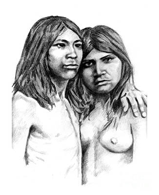 Drawing - Young Pima Couple 1880 by Toon De Zwart