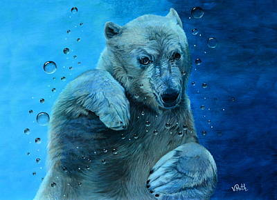 Painting - Young Polar Bear Underwater by Vicky Path