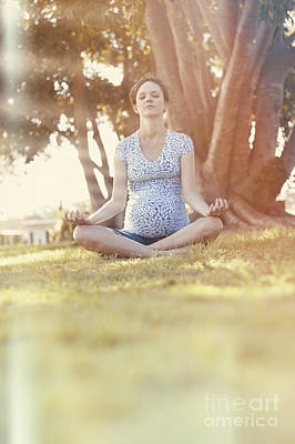 Woman Doing Yoga Photograph - Young Pregnant Woman Practising Morning Meditation by Jorgo Photography - Wall Art Gallery