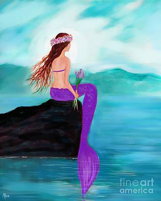 Painting - Young Pretty Mermaid by Leslie Allen