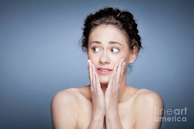 Healthy Photograph - Young Pretty Woman Scared Face Expression. by Michal Bednarek