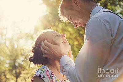 Young Romantic Couple Flirting In Sunshine Print by Michal Bednarek