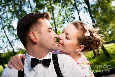 People Photograph - Young Romantic Couple In Love Flirting In Summer Park by Michal Bednarek