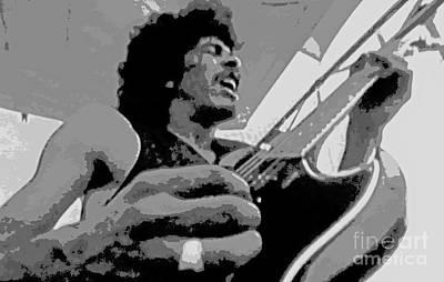 Carlos Santana Painting - Young Santana On Guitar by Pd