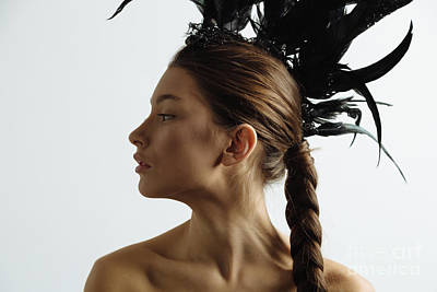 Mohawk Hairstyle Photograph - Young Mixed Race Caucasian Woman Vogue Portrait With Feather Mohawk Accessory Wearing Black Bodysuit. by Rostyslav Zabolotnyi