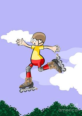 Young Skater Kid In Yellow T-shirt Jumping High Against The Sky Art Print