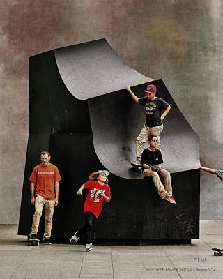 Photograph - Young Skaters Around A Sculpture by Pedro L Gili