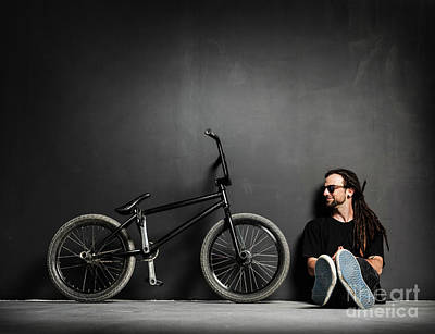 Photograph - Young Smiling Man Sitting Next To His Bmx Bike. by Michal Bednarek