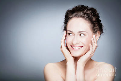 Photograph - Young Smiling Woman Touching Her Healthy, Fresh Face. by Michal Bednarek