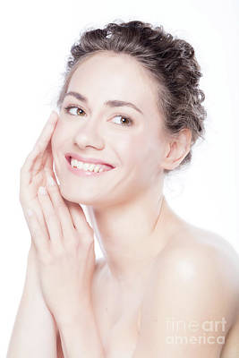 Photograph - Young Smiling Woman Touching Her Smooth, Healthy Face. by Michal Bednarek