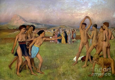 Young Spartans Exercising, By Edgar Degas, Circa 1860,national  Print by Peter Barritt